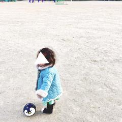 子育て中/グラウンド/ボール遊び/サッカー/兄妹/こどものいる暮らし/... 1歳の娘…  この時期は寒いので防寒対策…
