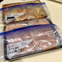 鶏胸肉/から揚げ/鶏肉料理/豚肉料理/肉じゃが/冷凍庫収納/... 今日は週に一度の買い出し日。 帰宅後、魚…