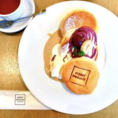 甘党/紫芋/秋スイーツ/モンブラン/お洒落/結婚式場/... パンケーキ食べたい♪  と思い立ち、ラン…