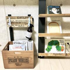 リビングインテリア/男前インテリア/カフェ風インテリア/木箱リメイク/木箱/収納BOX/... こんにちは♪  少し前に木箱をフック付き…