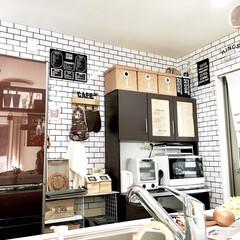 タッカー/サブウェイタイル/壁紙DIY/キッチンDIY/カフェ風インテリア/100均DIY/... わたしのDIYコンテストに参加します♪ …