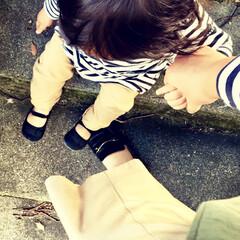 カジュアルコーデ/女の子ママ/1歳/足元/ボーダーコーデ/シンプルコーデ/... 秋はボーダーカットソーが大活躍♪  この…