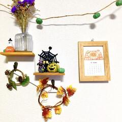 かぼちゃ/ミニカレンダー/ナチュラルキッチンアンド/ハロウィン仕様/壁面ディスプレイ/ハロウィン雑貨/... リビングの一角にある収納スペースの壁です…