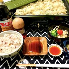 晩ご飯/雑穀米/簡単料理/ブルーノホットプレート/手作り餃子/餃子/... とある日の晩ご飯です♪  主人と息子(4…(1枚目)