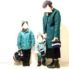 Instagramも見てね/冬ファッション/親子コーデ/親子リンクコーデ/グリーン/カラーリンク/... 着用アイテム的に 冬の間に載せたかったの…