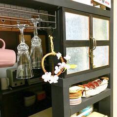 見せる収納/吊るす収納/ウォールバー/ペイントDIY/DIY女子/春雑貨/... お部屋を春仕様に模様替え。  キッチンカ…