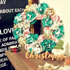 変わり種/簡単/クリスマスカラー/ナチュラルアンティーク/手作りリース/ハンドメイドリース/... リース作りが好きなので 毎年クリスマスリ…