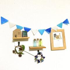 プチプラ雑貨/リビングインテリア/ミニカレンダー/壁面ディスプレイ/5月飾り/ナチュキチ雑貨/... リビングの壁面コーナーです。  毎月、飾…