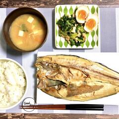 煮卵/和食/フライパン料理/干物/ほっけ/美味しい/... 今日の晩ごはん。  ほっけの干物 小松菜…