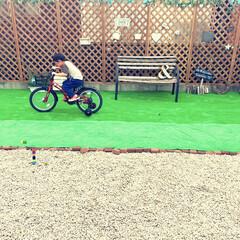 ファイト/練習中/補助輪付き自転車/ジープ/男の子ママ/5歳/... 5歳の誕生日プレゼントは自転車◎  早速…