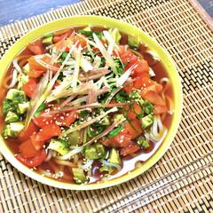 麺つゆ/冷やしうどん/夏に食べたい/みょうが/アボカドトマト/ぶっかけうどん/... 暑い日に食べたくなる♩  具沢山過ぎて麺…