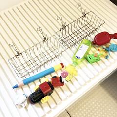 お風呂用品/お風呂のおもちゃ/浴室収納/浴室/建売住宅/収納アイデア/... 我が家のバストイ(お風呂用おもちゃ)収納…
