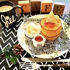 リメイク料理/かぼちゃの煮物/パンケーキ型/ホットケーキ/朝ごはん/朝食/... カフェが好きで 自宅をカフェ風にDIYし…