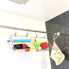 ランドリーパイプ/浴室収納/吊るす収納/お風呂グッズ/バストイ収納/おもちゃ収納/... 昨日フォト投稿した 100均のステンレス…