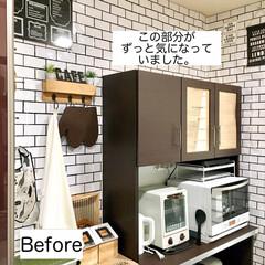 カフェ風キッチン/サブウェイタイル風/100均DIY/100均リメイク/壁紙DIY/収納アイデア/... 明日公開予定のアイデア記事についてお知ら…