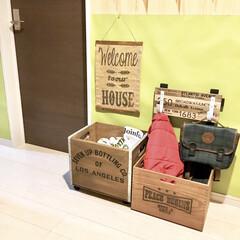 玄関インテリア/端材DIY/木箱リメイク/フック収納/ランドセル置き場/入学準備/... おはようございます♪  少し前に簡単DI…