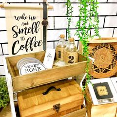 サリュ雑貨/カフェ風雑貨/カフェ風インテリア/カトラリーケース/壁紙DIY/ティーパック収納/... カフェ風インテリアが好きなので お気に入…