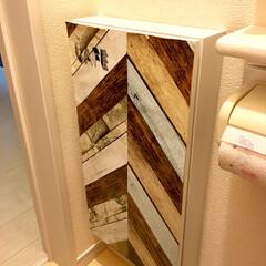 原状回復DIY/ヘリンボーン風/マステ養生/トイレ収納/トイレ/みんなにおすすめ/... 2年以上前に、トイレの収納扉を ヘリンボ…
