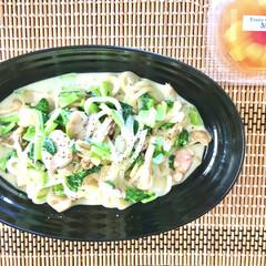 鶏肉料理/小松菜/舞茸/おうちごはん/おうち時間/レンチンレシピ/... レンチン簡単おうちうどん♡  少し前に同…