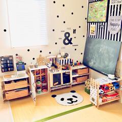 カフェ風/子供部屋/キッズスペース/畳コーナー/モノトーンインテリア/モノトーン/... リビングの一角にある畳コーナーです。 キ…