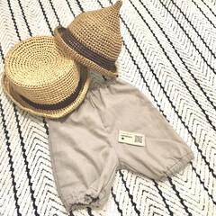 こどものいる暮らし/赤ちゃんのいる生活/夏アイテム/ストローハット/トンガリ帽子/ハンドメイド好き/... ハンドメイド雑貨が好きで 可愛いベビーグ…