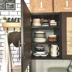 n型本立て/お助け本棚/お皿収納/ブックスタンド/本立て/食器収納/... 食器棚の収納を見直しました。 ※2枚目が…(2枚目)