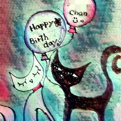 記念日/手描き/誕生日/加工 友人の誕生日に描いた絵  携帯で加工して…