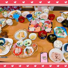 フルーツ盛り合わせ🍈🍓🍍/お赤飯/酢の物/お吸い物/茶碗蒸し/天ぷら/... *3月お祝いの日*  まごっちのお七夜(…(2枚目)