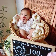 100日祝い/記念撮影/記念写真/記念日 *100日祝い*june 15* ばぁば…(2枚目)