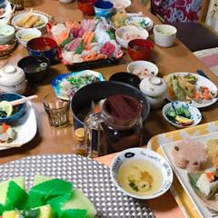 フルーツ盛り合わせ🍈🍓🍍/お赤飯/酢の物/お吸い物/茶碗蒸し/天ぷら/... *3月お祝いの日*  まごっちのお七夜(…(4枚目)