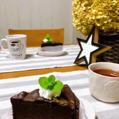 デザート/三時のおやつ/おうちカフェ/キャンドゥ/ダイソー/セリア/... *3じのおやつ*  ガトーショコラケーキ…(1枚目)