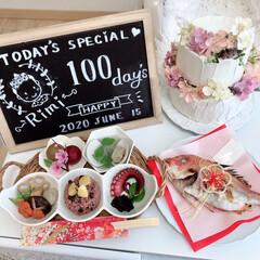 お祝い/記念日/記念撮影/お食い初め/100日祝い/クレイケーキ/... *お食い初め*  100日祝い♡長女宅編…
