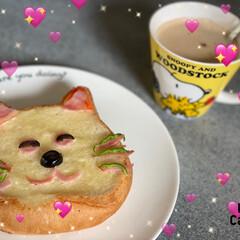 ねこねこ食パン/朝食 友達からねこねこ食パンをもらったから、猫…