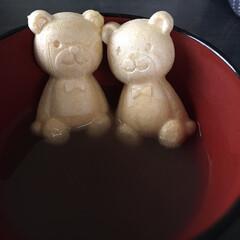 可愛い/おやつ お汁粉にくまさんを入れて食べました 可愛…