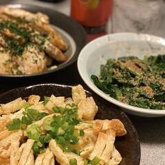 夜ご飯 今日も飲みながら作ったけど、手前の料理は…