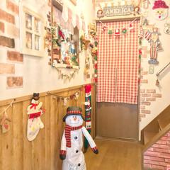 長〜い靴下/編み編みガーランド/スノーマン/クリスマスインテリア/クリスマス/雑貨/... 玄関開けたら〜🎅💕  玄関もXmas🎄仕…