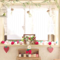 春のディスプレイ/トイレの窓/編みぐるみ/アクリル毛糸/編み編みイチゴ/ハンドメイド/... 編み編みイチゴちゃん🍓祭り〜✨  トイレ…