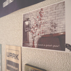 ディスプレイ/インスタグラムやってます/ブログ書いてます/うららかものづくりCafe/ポストカード/廊下/... 廊下にポストカードを何枚か貼ってディスプ…