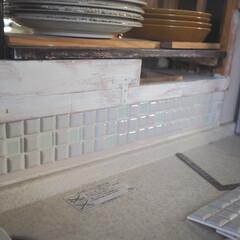 モザイクタイル プチコレガラスMIX ホワイト | 藤垣窯業(その他建築用タイル)を使ったクチコミ「LIMIAのモニターでいただいた藤垣窯業…」(8枚目)