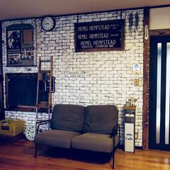 ソファー/リビング/junk/カフェ風/DIY/雑貨/... たまに、ソファーを壁付けして模様替えしま…