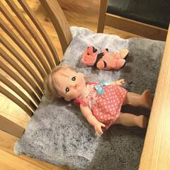 アイデア投稿もしています/インスタグラムやってます/ブログ書いてます/うららかものづくりCafe/ベッド/ぬいぐるみ/... ダイニングの椅子にお人形とぬいぐるみがこ…