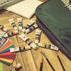 絵の具/アイデア投稿もしています/インスタグラムやってます/ブログ書いてます/うららかものづくりCafe/令和の一枚/... この前、息子が絵の具道具を持ち帰ったので…