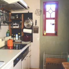 キッチンインテリア/インテリア/DIY/キッチン収納/キッチン雑貨/収納/... 我が家のキッチンです。 diyでいろいろ…