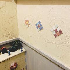サンプルタイル/タイル/漆喰/アイデア投稿もしています/インスタグラムやってます/ブログ書いてます/... このフォトは、トイレなんですが 漆喰壁に…
