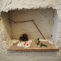お正月インテリア/インスタグラムやってます/ブログ書いてます/うららかものづくりCafe/漆喰/ニッチ/... おはようございまーす!  トイレの手作り…