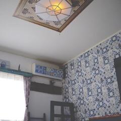 照明リメイク/モロッカンインテリア/モロッコ風/輸入壁紙/寝室/リミアな暮らし/... こんにちは。 久々に寝室を投稿します。 …