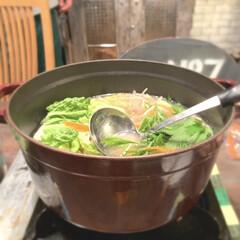 晩ご飯/カフェ風インテリア/キッチン/グレナディンレッド/ストウブ/お鍋/... 暑い夏ですが、 鍋にしました。  久々に…