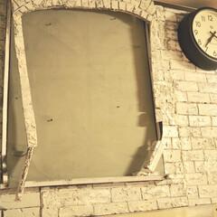 NEW GATE 50'sエレクトリックウォールクロック TR-4313(掛け時計、壁掛け時計)を使ったクチコミ「発泡スチロールレンガでdiyした 壁の一…」