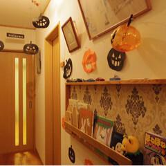 絵本棚/廊下/秋/ハロウィン/100均/インテリア/... 数年前のハロウィンです。  廊下をハロウ…