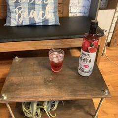 フェイクグリーン/クッション/長椅子/カフェ風インテリア/ボルトラック/ボルトテーブル/... 最近、妹から美酢を貰ったので 飲んでいま…
